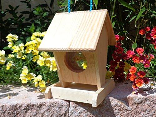 Vogelfutterstation-BEL-X-VOFU1K-natur002 PREMIUM Vogelhaus Vogelfutterhaus NEU Holz Nistkasten natur Gartendeko, als Ergänzung zum Meisen Nistkasten Meisenkasten oder zum Insektenhotel, Futterstation für Vögel, Vogelhäuser und Futterhäuser zum Hängen und zum Aufstellen