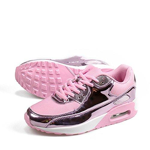 Baqijian Platform Running Sneakers Women Men Anti-Skid Outdoor Sport Shoes Lightweight Lace-Up Joggings Walking Shoes Pink 10