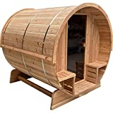 ALEKO SB6CED Outdoor Rustic Cedar Barrel Steam Sauna - Front Porch Canopy - ETL Certified - 6 Person