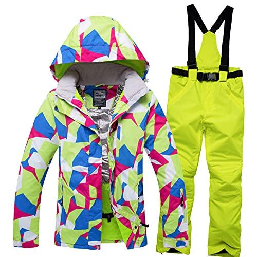 Chaqueta Y Pantalón De Esquí Abrigado para Mujer Traje De Dos Piezas Impermeable Y a Prueba De Viento para Nieve Adecuado para Senderismo Y Escalada En Hielo Trajes Deportivos,Set 8,XL