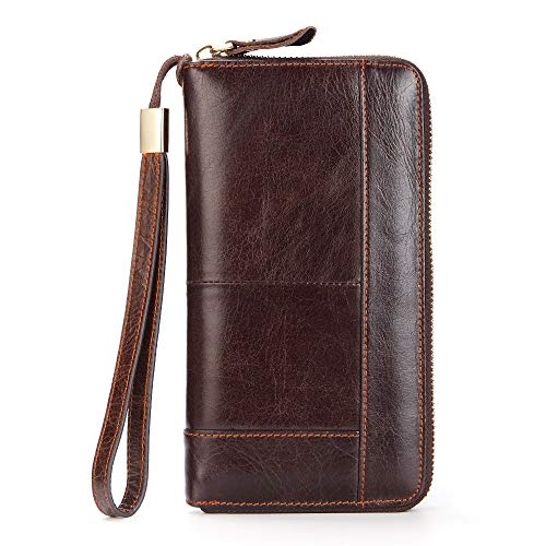 Black Sales Friday Deals Mens Long Leather Cellphone Clutch Wallet Purse for Men Large Travel Business Hand Bag Cell Phone Holster Card Holder Case Gift for Father Son Husband Boyfriend (Brown-2)