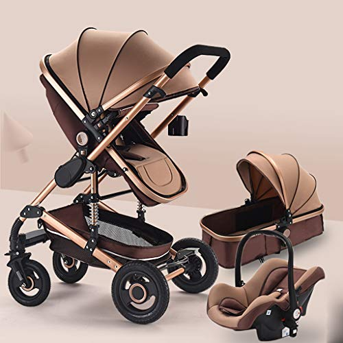 Pushchair Stroller for Newborn and Toddler - Convertible Stroller Compact Baby Carriage Travel System Luxury Pram Stroller Add Cup Holder (Color : Brown)