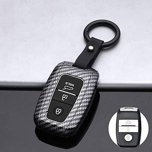 ontto Funda para llave de coche compatible con Kia Sorento Sportage Rio Pro Carens Cadenza Carnival Optima mando a distancia Cover ABS Key Key Cover Carcasa Carcasa Carcasa de fibra de carbono negro