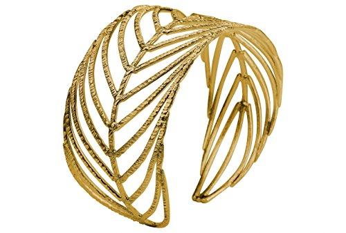 SILBERMOOS Exklusiver Damen Armreif vergoldet im Natur Design offen filigran Blatt Feder massiv 925 Sterling Silber Armspange