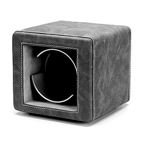 Mini Mini Mini Single Watch Caja de enrollamiento Retro Cuero Reloj Shaker Mecanical Watch Dispositivo de giro silencioso Dual-Power con estuche de almacenamiento de reloj LED Adecuado para relojes me