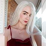 musegetes moda Platinum Blonde peluca Lace Front sintético resistente al calor largo recto Natural blanco Rubio pelucas cosplay para mujer HAND-TIED resistente al calor 24'HS0006