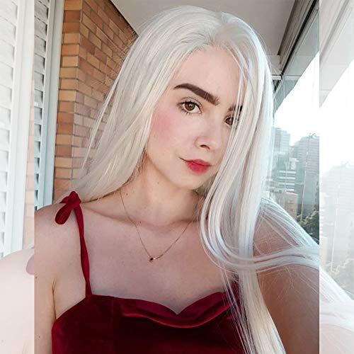 Musegetes Mode Blond platine synthétique Lace Front Perruques résistant à la chaleur Long Naturel droite Blanc Blond Perruques Cosplay pour femme la main résistant à la chaleur 61 cm Hs0006