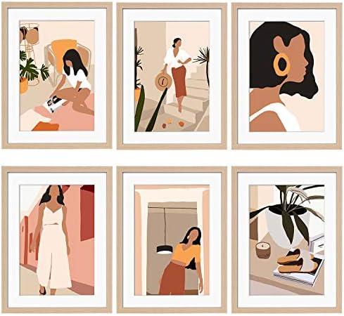 ArtbyHannah 6 Pack 12 x16 Framed Minimalist Line Wall Art Decor Abstract Woman s Body Shape product image