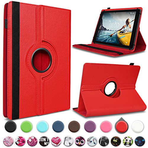 UC-Express Tablet Schutz Hülle Medion Lifetab P10612 P10610 P10603 P9701 P9702 P10606 P10602 X10605 X10607 X10302 P10400 P10506 P10505 Kunstleder Standfunktion 360° Drehbar, Farben:Rot