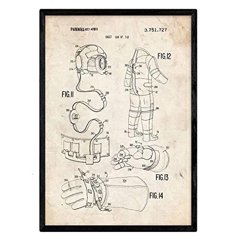 Nacnic Poster con Patente de Ropa Astronauta 2. Lámina con