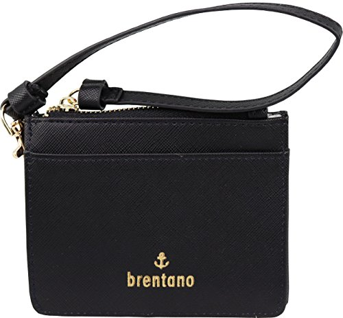 B BRENTANO Vegan Saffiano Leather Slim ID Credit Card Case with Wristlet Strap (Cherry)