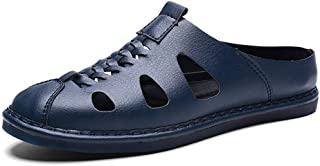 Xujw-shoes, for Men Outdoor Sandals Mens Walking Slippers Summer for Men Antislip Fashion On Style PU Leather Hollow and Breathable Round Toe Breathable