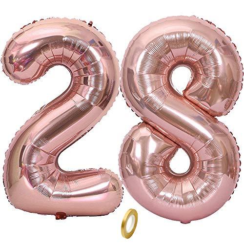 Jurxy - Globo de cumpleaños con helio, color oro rosa, número de globos para cumpleaños de 40 pulgadas - oro rosa 28