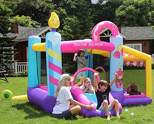 zyr Casa de Rebote Inflable con Soplador,420D Oxford Material Kids Castillo de Salto con Tobogán para Jardín Al Aire Libre Familia de Patio Trasero