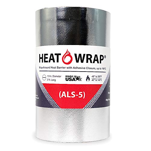 """Heat-Wrap (ALS-5) High-Temp Heat Reflective Wrap w/Adhesive, Cut to Length & Width, 1.5"""" Diameter x 36"""" Long - Perfect for Automotive"""