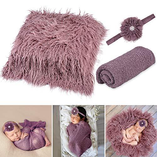 Aniwon Newborn Wrap, 3 Stücke Baby Fotoshooting Newborn Fotoshooting Baby Decke Haarband DIY Baby Shooting Accessoires Baby Teppich Knit Wrap für Baby Fotografie