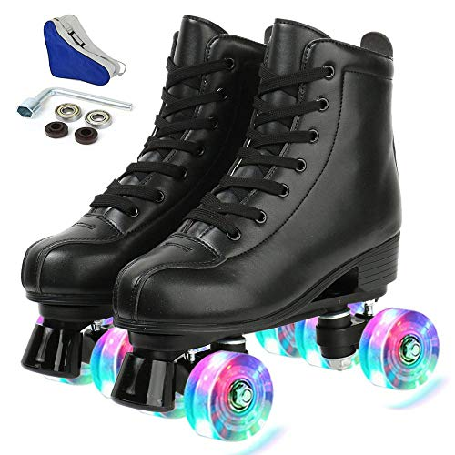 Women's Derby Roller Skates Light Up Wheels, Adjustable Outdoor PU Leather Double Sneaker Row Roller...