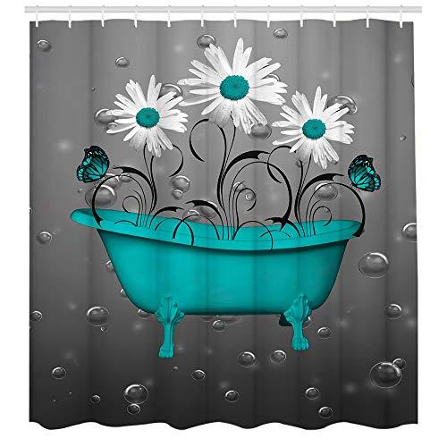 Duschvorhang aus rustikalem Holz mit Blumenmotiv in Blaugrün, Vintage-Polyestergewebe, fantastische Dekoration, Badvorhänge mit Haken im Lieferumfang enthalten, 183 x 183 cm