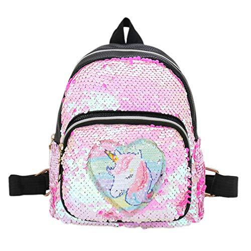 VALICLUD Mini Mochila Reversible de Lentejuelas Unicornio para Niña Mochila con Cambio de Color Arcoíris Mochila de Viaje con Brillo Mochila Escolar