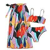 Mujer Bikini de Cruzadas Encaje Traje de Tres Piezas Cintura Alta Bañador Bikini de Dos Piezas para Mujer (Color C, S)