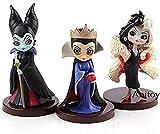 No Personajes QPosket Q Posket Pequeños Villanos Maléfica Reina Malvada Cruella De Vil PVC Figura de colección Modelo de Juguete 3pcs / Set