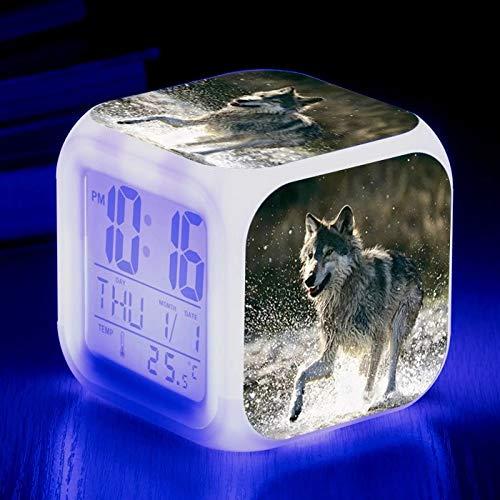 fdgdfgd Der König der Wölfe mit Thermometer Datum Wecker Kinder Cartoon LED Uhr Geburtstag Wecker Geschenk