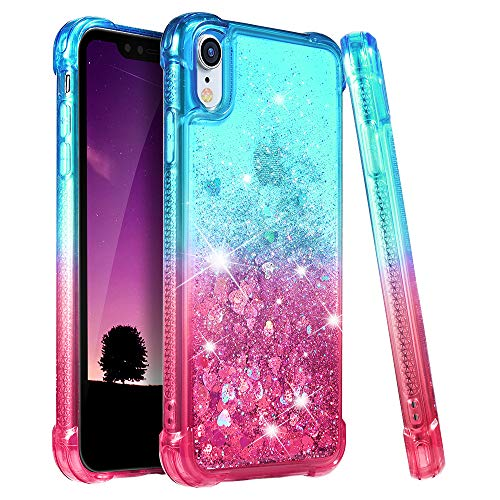 Ruky iPhone XR Case, Gradient Quicksand Series Glitter Bling Flowing Liquid Floating TPU Bumper Cushion Reinforced Corners Girls Women Case for iPhone XR 6.1 inches (2018) (Teal Pink)