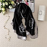 シルクスカーフ女性はスカーフ花、鳥、葉、チェーン、100%天然シルクラップショールやスカーフ180 * 90cmのHijabsを印刷します,14