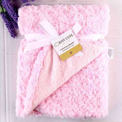 Manta de bebé recién nacido Manta térmica de vellón suave Manta de bebé envuelta envolvente Cobija de bebé Manta de bebe,Suave Manta caliente102cm x 76cm (40in * 29.9in) (Rosa)