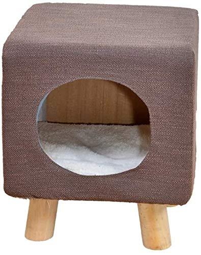 Wxxdlooa Columpio heces del Gato Presidente, la Sala de Estar Dormitorio Asiento del Juguete del Gato de Madera Maciza de algodón y Lino casa del Gato (Color : D)