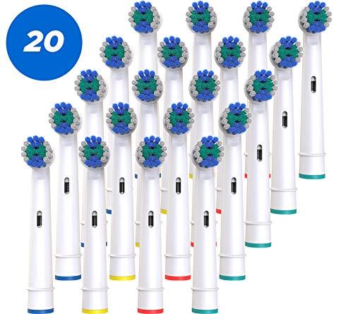 BELADENT Aufsteckbürsten kompatibel mit Oral B elektrische Zahnbürsten, 20er Pack (5 x 4) Ersatz-Zahnbürsten