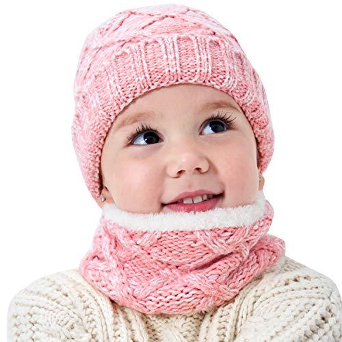 Baby Hoeden & Cap, 2 Stks/Set Unisex Kids Hoed Cirkel Sjaal, Winter Kinderen Gebreide Warm Hoed & Nek Sjaal, Jongens Meisjes Winter Hoed en Sjaal Set