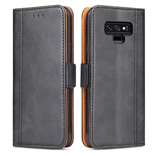 Bozon Galaxy Note 9 Hülle, Leder Tasche Handyhülle für Samsung Galaxy Note 9 Schutzhülle Flip Wallet mit Ständer & Kartenfächer/Magnetverschluss (Schwarz-Grau)