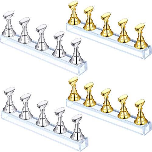 TYWZJ 4 Juegos de exhibición de uñas de ajedrez, Soporte de exhibición de uñas acrílico, Soporte de Puntas de uñas, Soporte magnético para práctica de uñas, Soporte para uñas DIY, Soporte para uñ