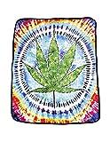 Earth Ragz Tie Dye Pot Leaf Coral Fleece Throw Blanket
