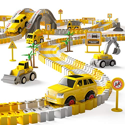 iHaHa 236PCS Construction Race Tracks for Kids Boys Toys  6PCS Construction Car and Flexible Track Playset Create A Engineering Road Toys for 3 4 5 6 Year Old Boys Girls Best Gift