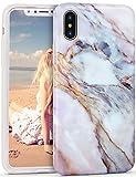Imikoko® Hülle für iPhone XS/X Marmor Hülle Matt Weich