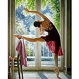 Zhxx Pintar Por Numeros Rotulador Ballet Belleza Figura Lienzo Decoración De Boda Imagen Artística Regalo 40X50Cm Sin Marco