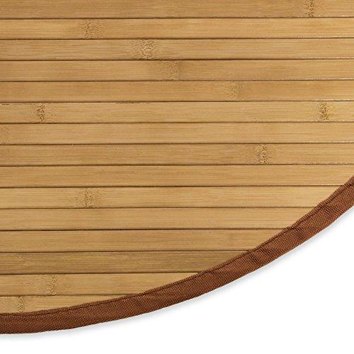 Homestyle4u 372, Bambusteppich Rund rutschfest, Bambusmatte Bad, Braun 120 cm