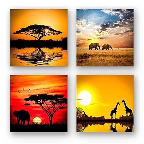 Afrika Set A schwebend, 4-teiliges Bilder-Set jedes Teil 29x29cm, Seidenmatte Optik auf Forex Fine Art, Moderne Optik, UV-stabil, wasserfest, Kunstdruck für Büro, Wohnzimmer, XXL Deko Bild