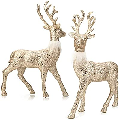SANNO Reindeer Decorations Christmas Deer Decor Set of 2 Holiday Reindeer Figurines Standing Champagne Glitter Champagne Festive Ornaments for Indoor Winter Decor