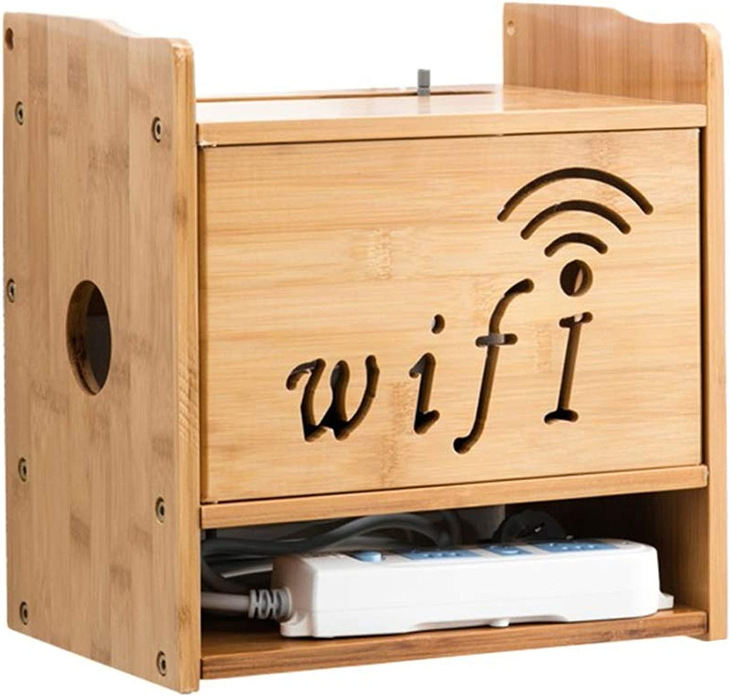 JINLINE Wooden Router Remote Controller WiFi Router Storage Box 3 Layer TV Accessories TV Box Set-top Box Wall-Mounted TV Stand (color   Wood color)
