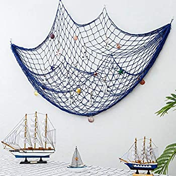 band Decorative Fishing Net Wall Decor with Seashells Nautical Style Wall Hangings Ornaments Mediterranean Style Photographing Accessory Ocean Themed Wall Hangings Blue