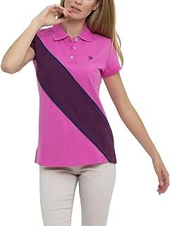 Womens Color Block Prep Sash Pique Polo Shirt