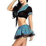 Mymyguoe Damen Dessous Sexy Gitter Unterwäsche Spitze Set Krawatte Temptation Uniformen Sexy Minirock mit BHS Set Babydoll Nachtwäsche Tiefer V-Ausschnitt Cosplay Schulmädchen