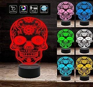 Lampada a led 7 colori selezionabili TESCHIO MESSICANO Tatoo tribale Idea regalo originale a batteria + cavo micro USB da ...