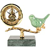 WYZQ Reloj de sobremesa con Base de mármol, imitación mecánica, Movimiento Transparente, cerámica, diseño de pájaro Azul, Relojes de Chimenea para Sala de Estar, Cocina (Verde Oscuro), Relojes