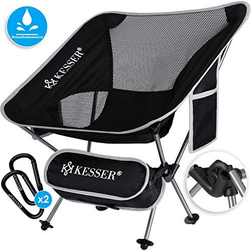 Kesser® Campingstuhl faltbar klappbar tragbar Angel Stuhl Camping Stuhl Faltstuhl bis 120 kg Strandstuhl Angelstuhl Klapphocker mit Getränkehalter kleinem Packmaß, Outdoor Stuhl, Grau