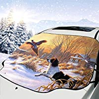 車用防積雪サンシェード ジャンプ 猟犬 車のフロント風防 フロントガラス霜の保護用 遮光 防水 防雪対策 雪と氷の盾カバー 折りたたみ 収納便利 前部窓スクリーンカバー147*118cm
