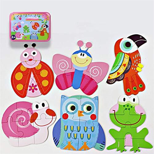 SZLGPJ Rompecabezas bebé Juguetes Caja de Hierro Dibujos Animados 3D Animales Rompecabezas de Madera para los niños Primeros Regalos de Juguetes educativos para los niños